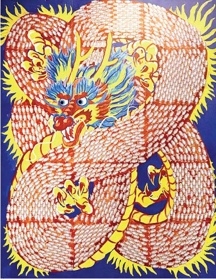 配合這次「魚躍龍門」主題,以小魚貼紙拼貼而成的龍。