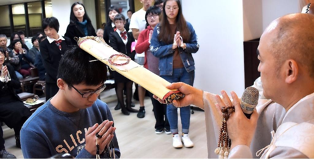 正行院今年共有七名青年部信徒,接受成人式的御本尊頂戴之儀