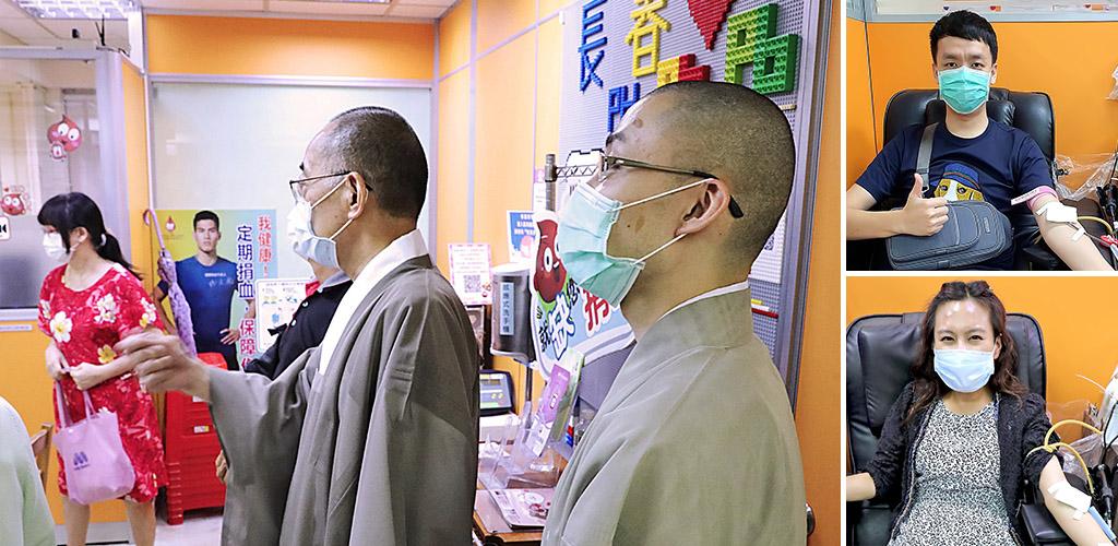 感謝熱心捐血人,石橋主管特地前來為辛苦的工作人員加油打氣