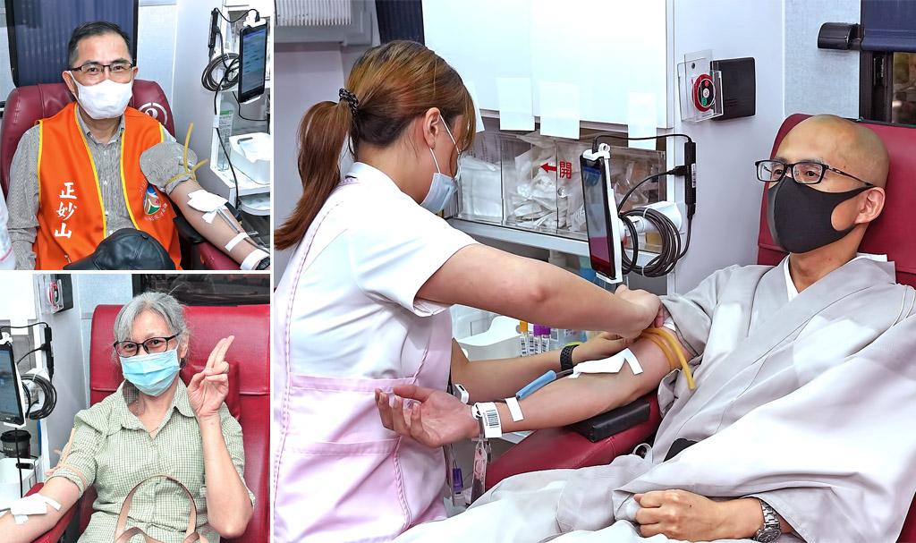 挽袖捐血發揮大善